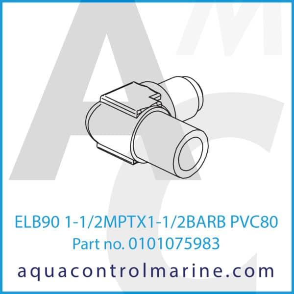 ELB90 1-1_2MPTX1-1_2BARB PVC80