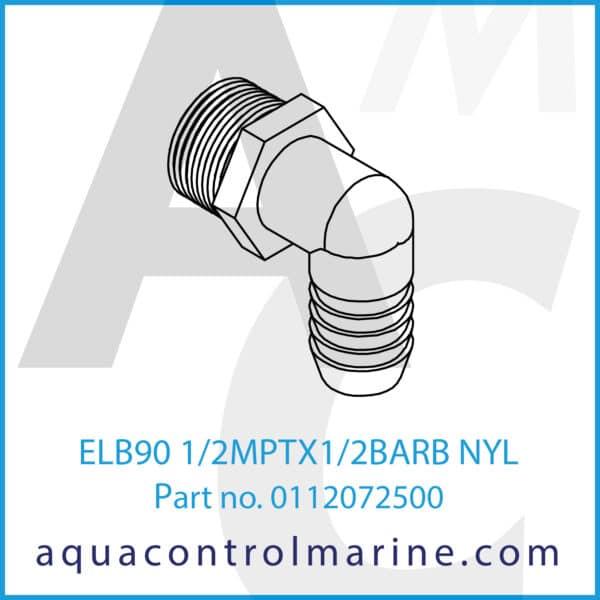 ELB90 1_2MPTX1_2BARB NYL