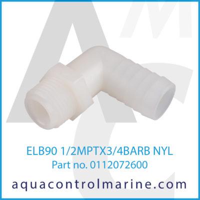 ELB90 1/2MPTX3/4BARB NYL