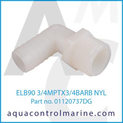 ELB90 3/4MPTX3/4BARB NYL