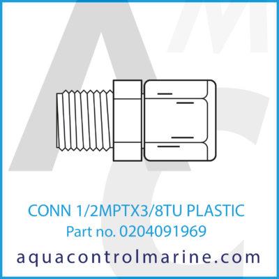 CONN 1/2MPTX3/8TU PLASTIC