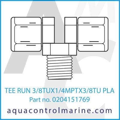 TEE RUN 3/8TUX1/4MPTX3/8TU PLASTIC
