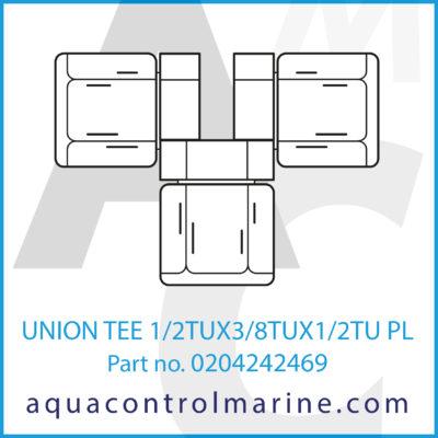 UNION TEE 1/2TUX3/8TUX1/2TU PLASTIC