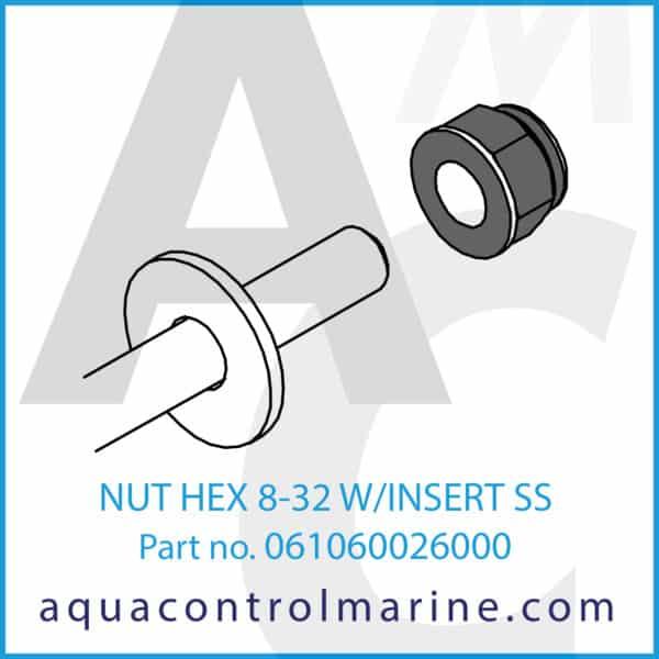 NUT HEX 8-32 W_INSERT SS