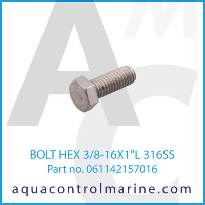BOLT HEX 3/8-16X1inchL 316SS