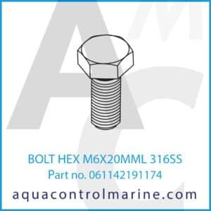 BOLT HEX M6X20MML 316SS