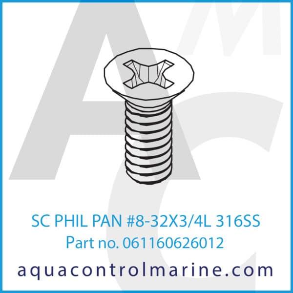 SC PHIL PAN #8-32X3_4L 316SS