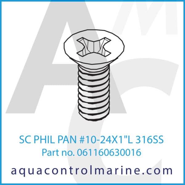 SC PHIL PAN 10-24X1inch L 316SS