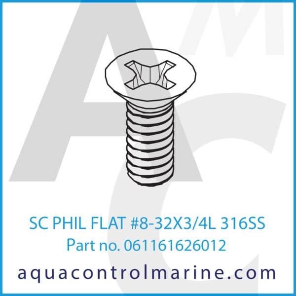 SC PHIL FLAT #8-32X3_4L 316SS
