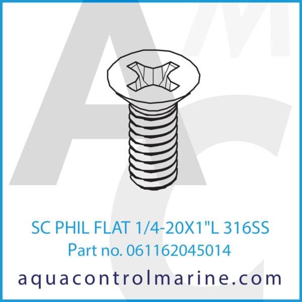 SC PHIL FLAT 1_4-20X1inchL 316SS