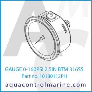 GAUGE 0-160PSI 2.5IN BTM 316SS