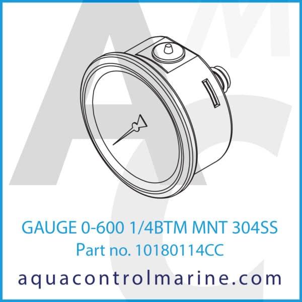 GAUGE 0-600 1_4BTM MNT 304SS