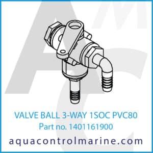 VALVE BALL 3-WAY 1SOC PVC80