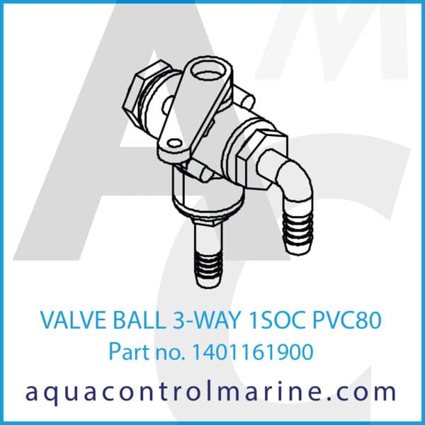 VALVE BALL 3-WAY 1SOC PVC80