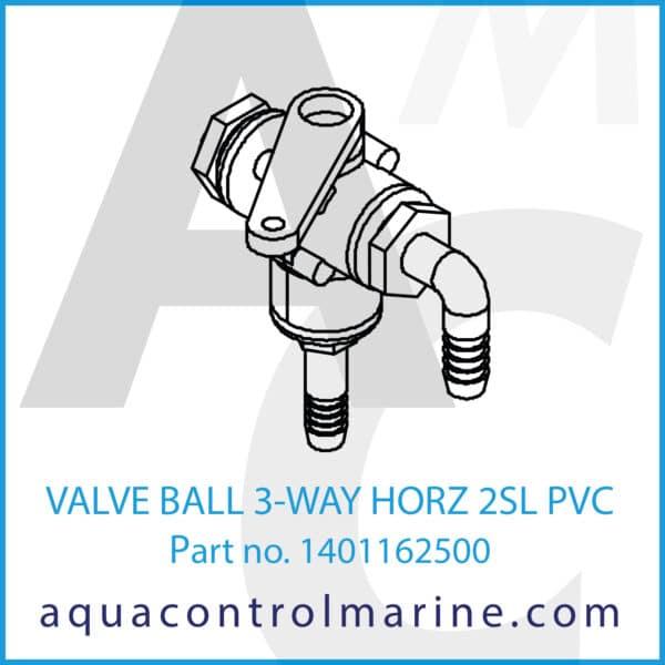 VALVE BALL 3-WAY HORZ 2SL PVC