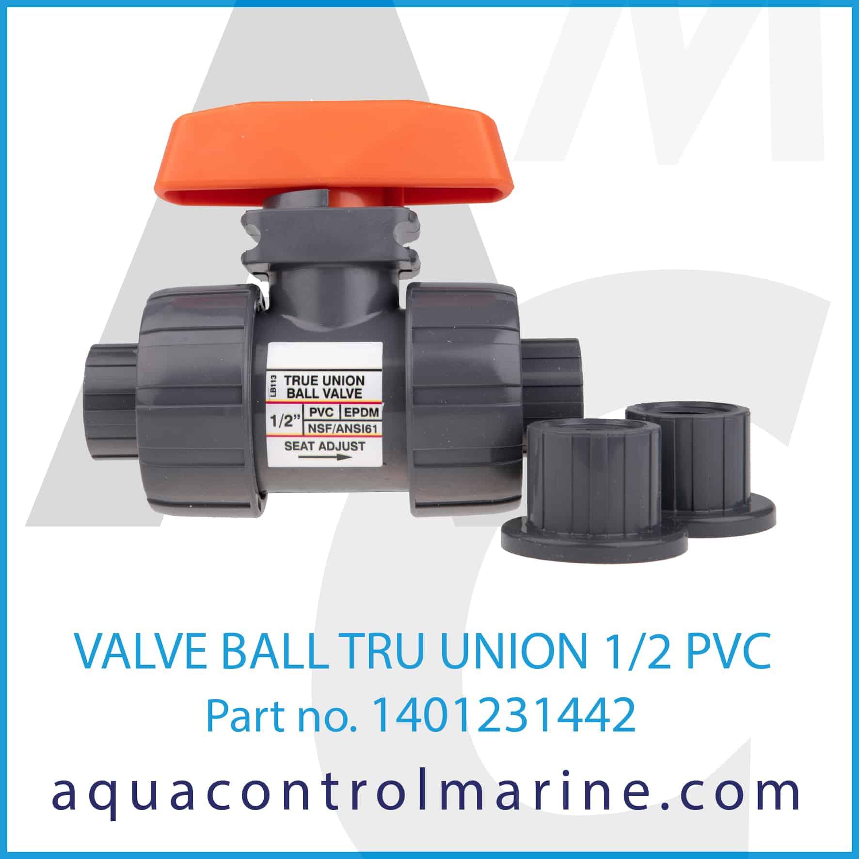 VALVE BALL TRU UNION 1_2 PVC