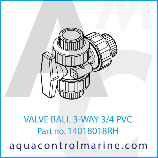 VALVE BALL 3-WAY 3_4 PVC