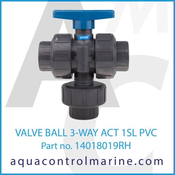 VALVE BALL 3-WAY ACT 1SL PVC