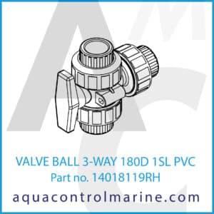 VALVE BALL 3-WAY 180D 1SL PVC