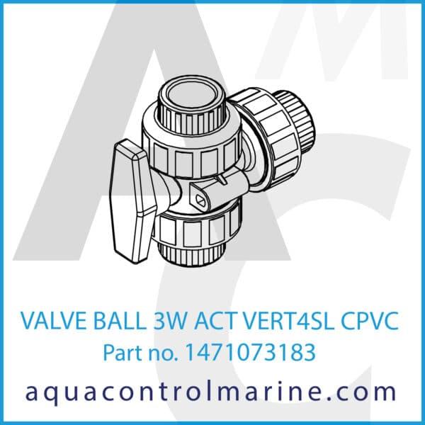 VALVE BALL 3W ACT VERT4SL CPVC