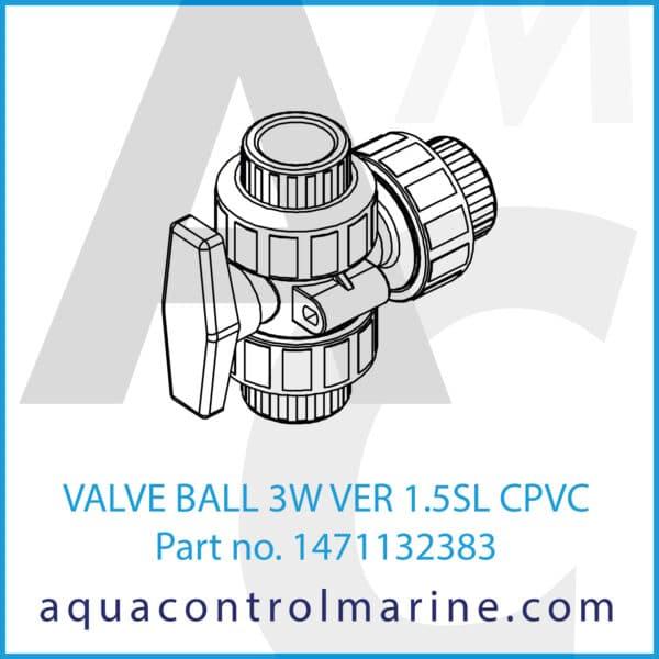 VALVE BALL 3W VER 1.5SL CPVC