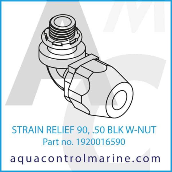 STRAIN RELIEF 90, .050 BLK W-NUT