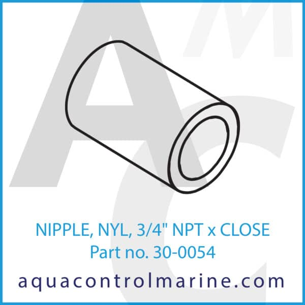 NIPPLE, NYL, 3_4inch NPT x CLOSE