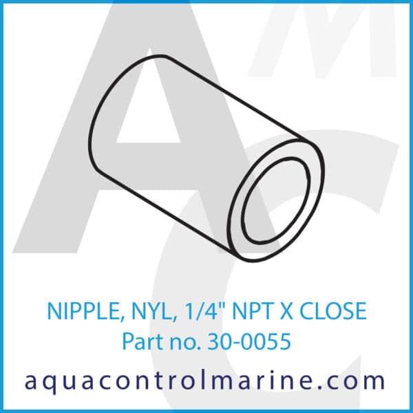 NIPPLE, NYL, 1_4inch NPT X CLOSE
