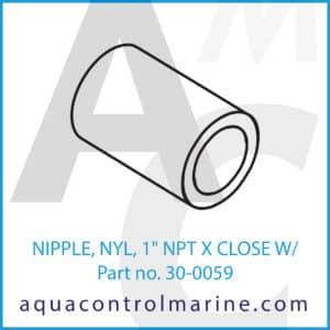 NIPPLE, NYL, 1inch NPT X CLOSE W_