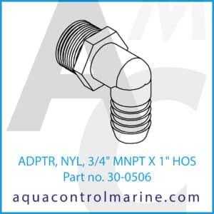 ADPTR, NYL, 3_4inch MNPT X 1inch HOS