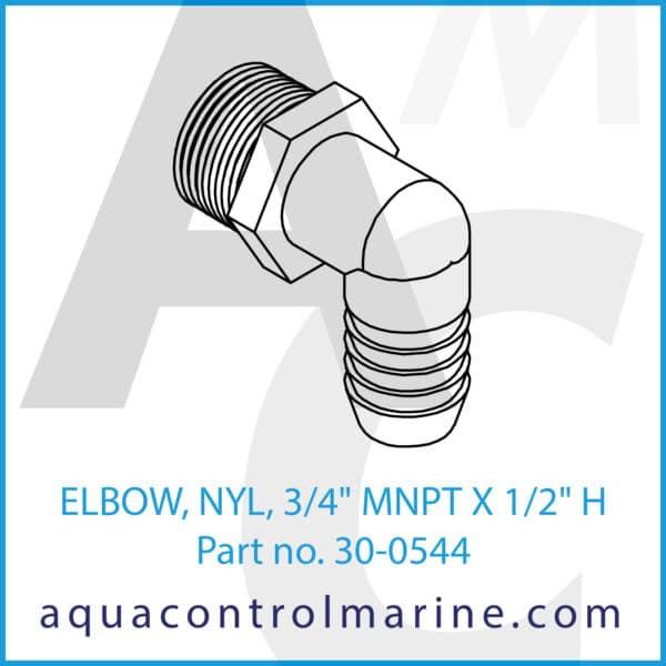 ELBOW, NYL, 3_4inch MNPT X 1_2inch H