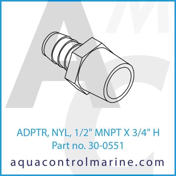 ADPTR, NYL, 1_2inch MNPT X 3_4inch H