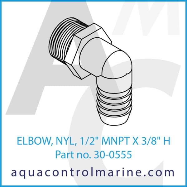 ELBOW, NYL, 1_2inch MNPT X 3_8inch H