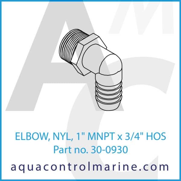 ELBOW, NYL, 1inch MNPT x 3_4inch HOS