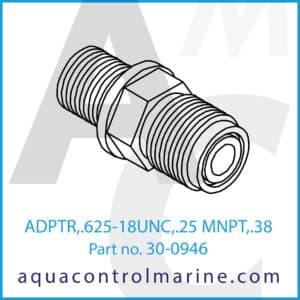 ADPTR,.625-18UNC,.25 MNPT,.38