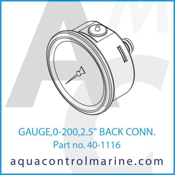 GAUGE,0-200,2.5inch BACK CONN