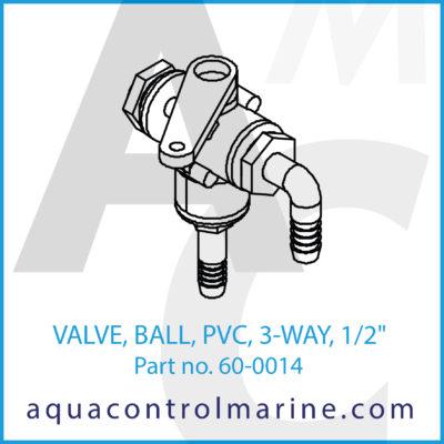 "VALVE BALL PVC 3-WAY 1/2"""