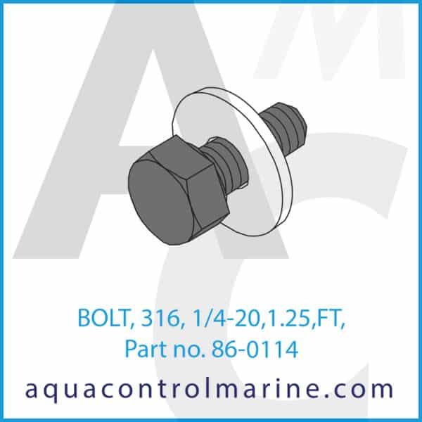 BOLT, 316, 1_4-20,1.25,FT,