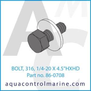 BOLT, 316, 1_4-20 X 4.5inch HXHD