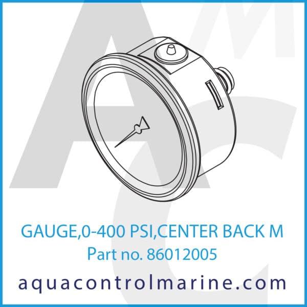 GAUGE,0-400 PSI,CENTER BACK M