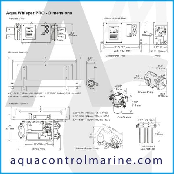 Aqua Whisper PRO - dimensions